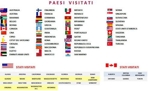 Zoom dei paesi visitati fino al 2016