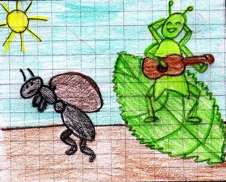 Immagine del disegno di un bambino della favola La Cicala e la Formica