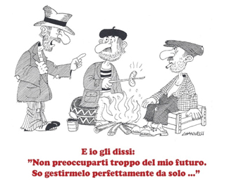 Immagine di una vignetta sarcastica sulle pensioni italiane e la previdenza sociale